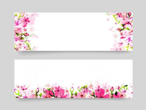 Website headers with pink watercolor flowers.