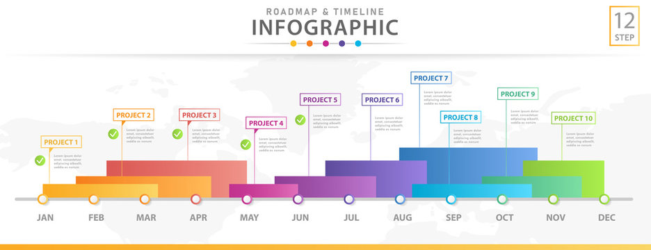 Infographic template for business. Modern Timeline diagram calendar with grantt chart, presentation vector infographic.