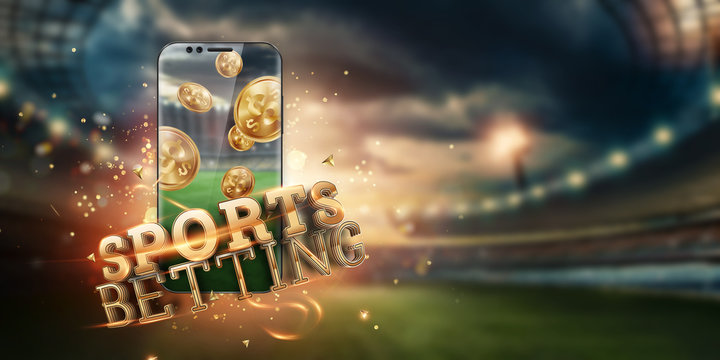 Gold inscription Sports Betting on a smartphone on the background of the stadium. Bets, sports betting, bookmaker. Mixed media