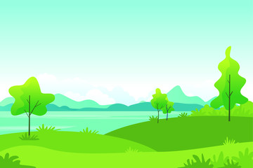 Wall Murals Green coral Beautiful Landscape Vector Illustration design, cute, lovely, adorable and scenery landscape design