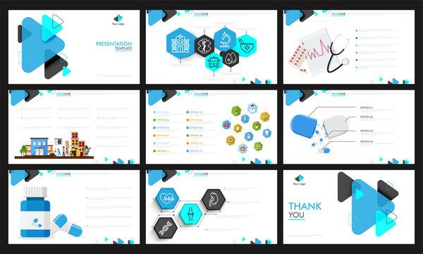 Health and Medical presentation template design.
