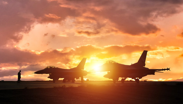 silhouette fighter airport war exercise scenario