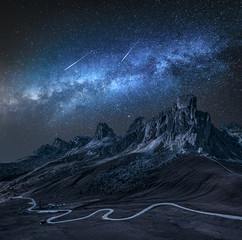 Wall Mural - Milky way over Passo Giau at night, Dolomites