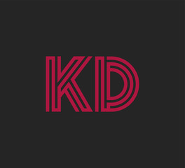 Initial two letter red line shape logo on black vector KD