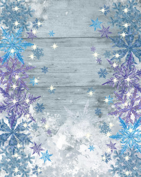 Winter Background with Snowflake Border on Sides of Frozen Wood Textured Surface. Great for Christmas, New Year, and Winter Holidays Announcement, Advertisement, Banner, Greeting Card,Invitation etc.