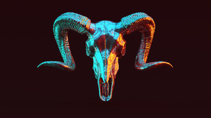 Silver Ram Skull with Red Orange and Blue Green Moody 80s lighting Front 3d illustration 3d render