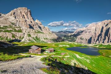 Wall Mural - Mountain lake Laghi dei Piani near Tre Cime, Dolomites