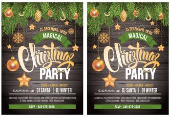 Christmas party design template. Vector stock illustration. Elements are layered separately in vector file.