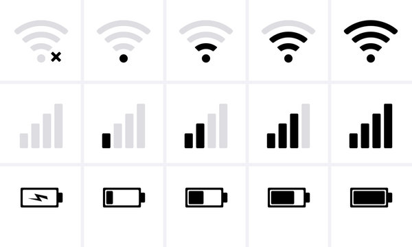 Phone bar status Icons, battery Icon, wifi signal strength