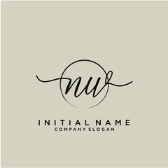 NW Initial handwriting logo with circle template