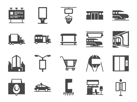 Out of home media line icon set. Included icons as advertise, outdoor advertising, marketing, outdoor media and more.
