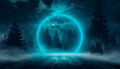 Abstract night landscape. Neon blue light, tree silhouettes, reflection in the water, moonlight light. Misty forest, dark, smoke, smog. Night view. Wall mural