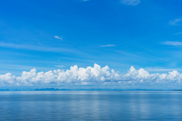 Blue sky background with white clouds on the lake.