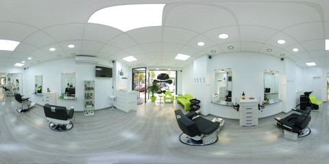 360 degrees panorama of modern bright hair and beauty salon. Equirectangular projection environment map. Full spherical panorama of barber salon interior business