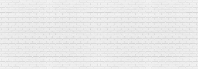 Abstract white brick wall texture for your design background or wallpaper. Panorama picture.