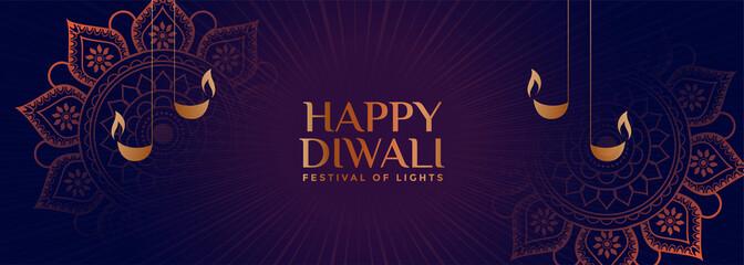 lovely ornamental style happy diwali banner design