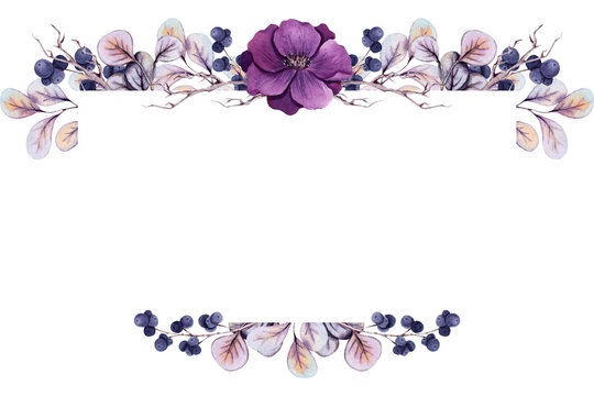 Frame with Watercolor Purple Flower