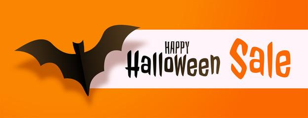 happy halloween yellow sale banner design concept