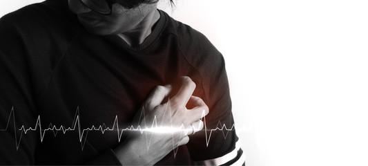 man having heart attack. healthcare concept