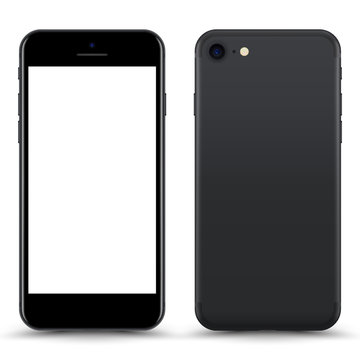 Grey Smartphone Mockup with Blank Screen Isolated. Realistic Front and Back View For Print, Web, Application. High Detailed Device Mock Up Separate Groups and Layers. Easily Editable Vector.