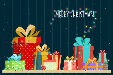 Poster merry christmas with Gift Box.