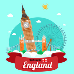 Vector travel poster of England.