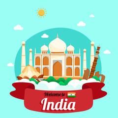 Vector travel poster of India.