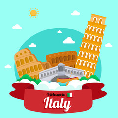 Vector travel poster of Italy.
