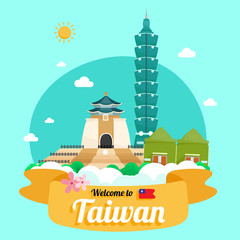 Vector travel poster of Taiwan.
