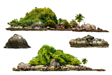 Printed roller blinds Island The trees. Mountain on the island and rocks.Isolated on White background