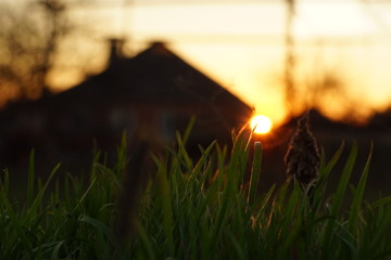 Round sun at sunset against the background of the silhouette of a village house.