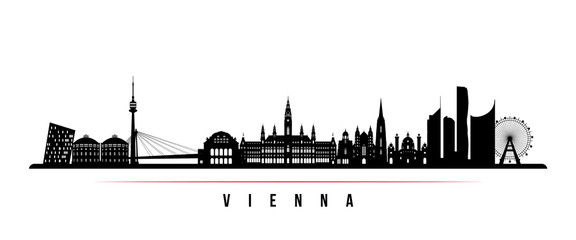Vienna skyline horizontal banner. Black and white silhouette of Vienna, Austria. Vector template for your design.