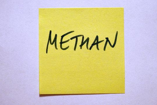 Gelbe Haftnotiz mit Schlagwort Klimawandel Methan