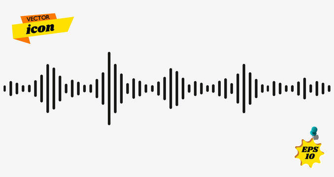 Black waves as equalizer. Voice recognition line icon. Chat panel and soundwave linear sign. Simple logo for websites, mobile apps and other design needs. Vector