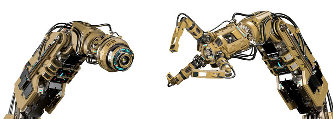 Two different robotic arms standing near each other. Yellow mechanical hands or industrial robotic manipulators. Futuristic technology. Isolated on white background. 3d illustration