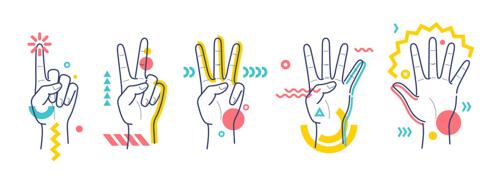 Hands showing numbers one, two, three, four, five. Flat / line style with colorful small geometric particles and dots. Set elements.