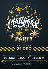 Merry Christmas Party poster. 24 December celebration banner template with text, golden twinkling stars
