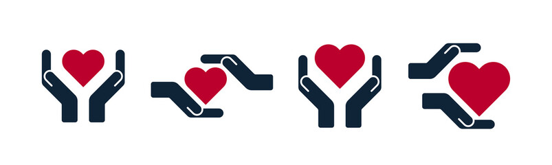 Hands and palms with heart shapes icons