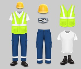 Work wear and uniform set, vector isolated illustration
