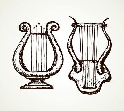 Harp. Vector drawing
