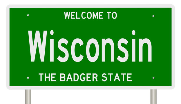 Rendering of a green 3d highway sign for Wisconsin