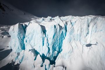 Shadow ot helicopter at amazing Franz Josef Glacier. West Coast, South Island, New Zealand.