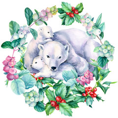 bear with cubs, christmas wreath, watercolor illustration is drawn on a white background