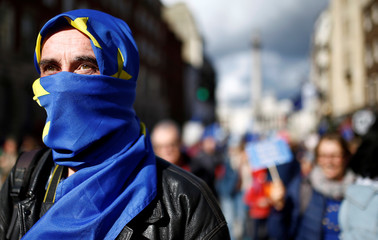 EU supporters march as parliament sits on a Saturday for the first time since the 1982 Falklands War, to discuss Brexit in London