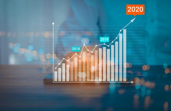 Business analytics and financial concept, Plans to increase business growth and an increase in the indicators of positive growth in 2020 floating above digital screen  mobile phone.