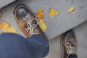 Leather shoes color - brown.It is time for autumn