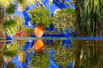 MARAKESH - DEC 30: Botanical garden Jardin Majorelle in Marrakesh or Marrakech on December 30. 2017 in Morocco