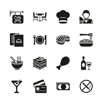 Restaurant Icons Black & White Set