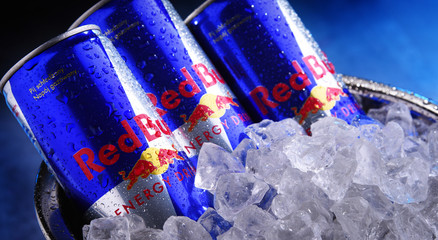 Cans of Red Bull, a popular energy drink