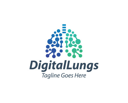 Creative Digital Lungs Care logo Template, Healthy Lungs logo design